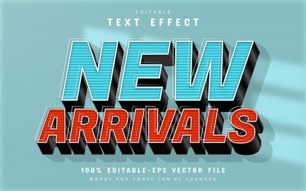 Nuovo effetto di testo 3d di arrivo