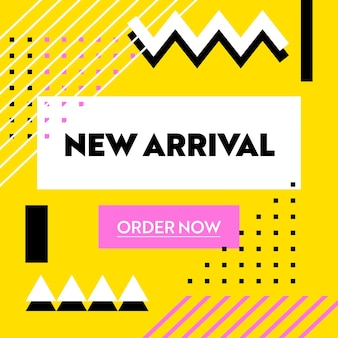 Banner pubblicitario nuovo arrivo con tipografia su giallo