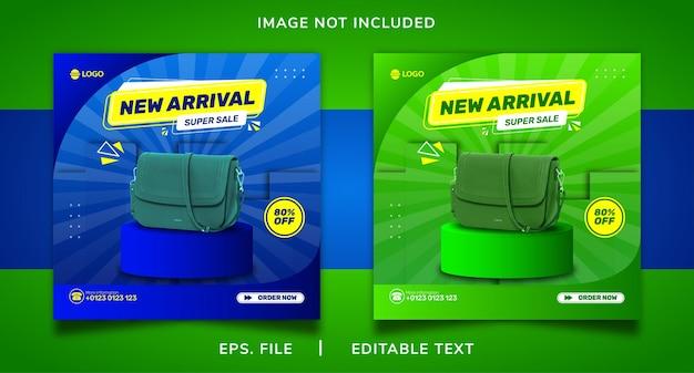 Nuovo arrivo borsa a mano vendita promozione sui social media e design del modello di banner post di instagram