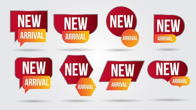 Nuova collezione di illustrazioni di arrivo etichette negozio di prodotti
