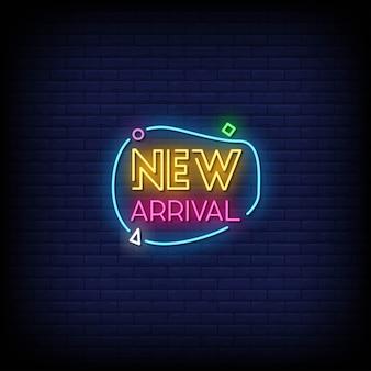 Nuovo testo di stile delle insegne al neon di arrivo