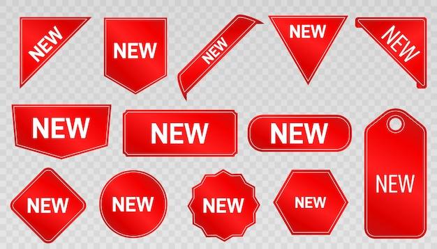 Nuovo arrivo. etichette, adesivi e distintivi speciali del prodotto. nuove offerte di raccolta.