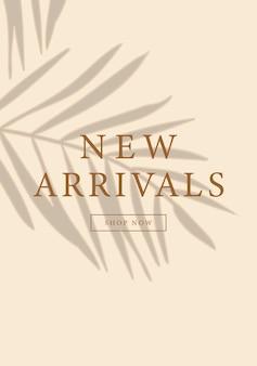 Progettazione del layout della storia dei social media dei nuovi arrivi con ombra di foglie tropicali su modello di sfondo beige