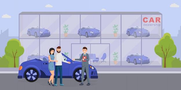 Illustrazione piana di vettore dell'acquisto della nuova automobile