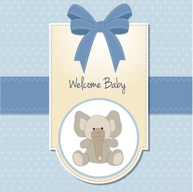 Nuova scheda di annuncio del neonato con l'elefante