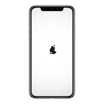 Nuovo smartphone di marca simile al modello iphon senza cornici e schermo vuoto. disegno per la stampa, pubblicità, interfaccia web, demo di giochi e app