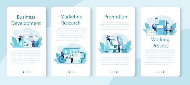 Set di banner per applicazioni mobili di sviluppo di nuove direzioni aziendali