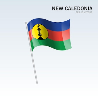 Nuova caledonia sventolando bandiera isolata su gray