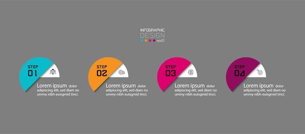 Nuovo design del cerchio 4 passaggi per eseguire visualizzazioni infografiche. Vettore Premium