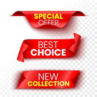 Nuova raccolta, scelta migliore e banner di offerte speciali. adesivi rossi di vendita.