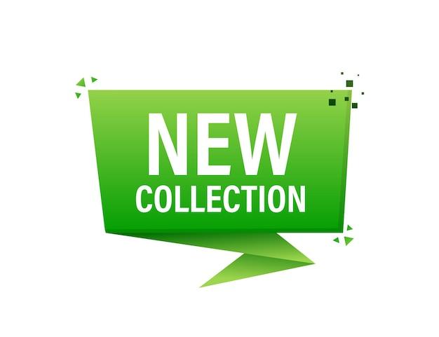 Nuova collezione etichetta verde su bianco