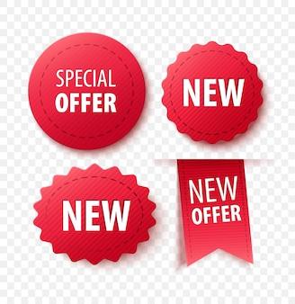Nuova collezione offerta tag ed etichette. insegne rosse del nastro isolate su fondo bianco. badge promozionali vettoriali per qualsiasi progetto