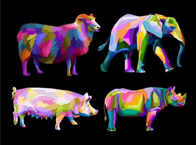 Nuova collezione fauna selvatica pop art ritratto isolato decoratin Vettore Premium