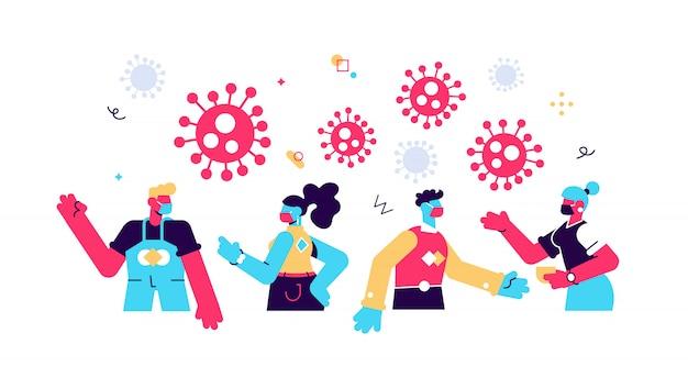 Nuovo coronavirus (2019-nkov), le persone in maschera medica bianca comunicano attraverso i social network online. divieto di contatto, concetto di quarantena coronavirus. stile di illustrazione moderno.