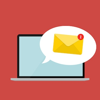 Nuova e-mail sul concetto di notifica dello schermo del laptop. illustrazione vettoriale Vettore Premium