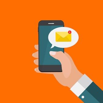 Nuovo messaggio di posta elettronica sul concetto di notifica dello schermo dello smartphone