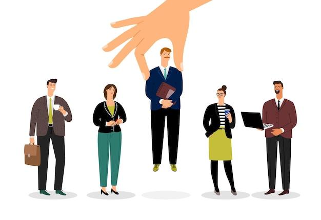Nuovo impiegato. team aziendale aumentato.