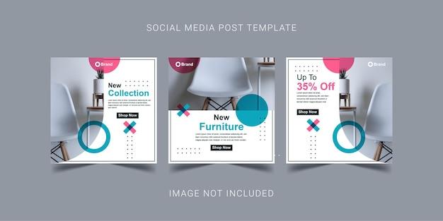 Nuovo design del modello di post sui social media mobili