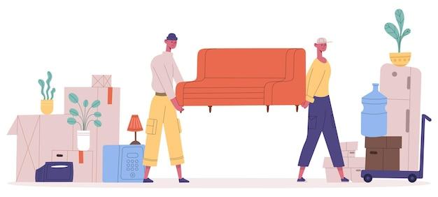 Trasloco nuova casa. personaggi del servizio di trasloco che trasportano divani e scatole per la casa, motori che tirano mobili illustrazione vettoriale. persone che cambiano casa