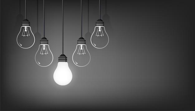 Nuovo sfondo idea con illustrazione di simbolo di lampadine. creatività e potere del concetto di pensiero.