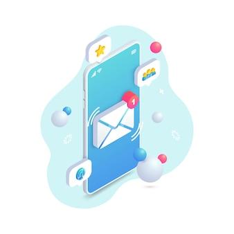 Nuovo concetto isometrico del messaggio in arrivo