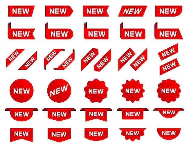 Nuova etichetta e tag. adesivo con la parola nuova.