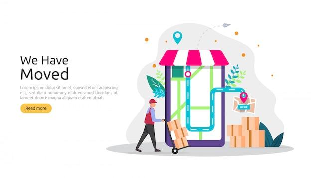 Nuova attività di annuncio della posizione o concetto dell'indirizzo dell'ufficio del cambiamento. abbiamo spostato l'illustrazione per modello di pagina di destinazione, app per dispositivi mobili, poster, banner, flyer, interfaccia utente, web e sfondo