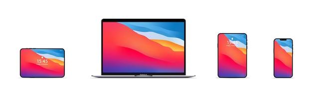 Nuovo macbook air, ipad mini, iphone 13 pro max mock up. interfaccia utente ui ux bianca. zaporizhzhia, ucraina - 18 ottobre 2021.