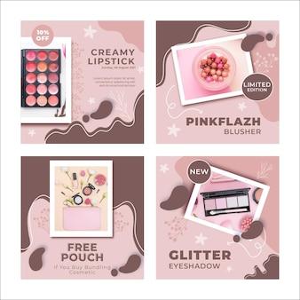 Nuovo modello di post instagram di prodotti per il trucco