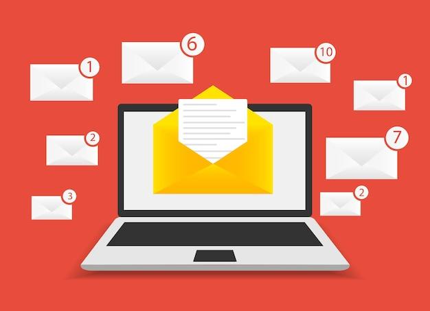 Un nuovo messaggio nel computer portatile su sfondo rosso - illustrazione