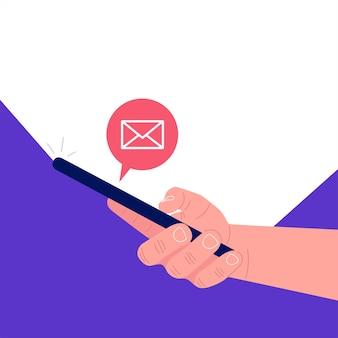 Nuovo messaggio sullo schermo dello smartphone. illustrazione vettoriale.