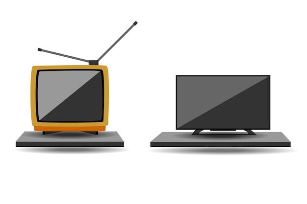 Nuova tv moderna vecchia e nuova su sfondo bianco