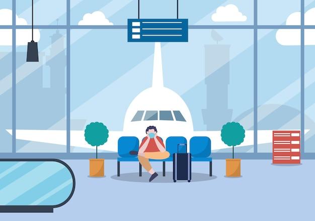 Nuova norma, illustrazione vettoriale persone in maschere che si siedono nel terminal interno dell'aeroporto