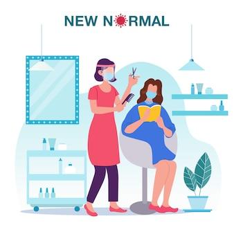 Nuova illustrazione normale di concetto con un parrucchiere femminile che indossa scudo e maschera che fanno taglio di capelli per il cliente nella prevenzione del salone di capelli dallo scoppio della malattia. nuova normalità dopo covid-19