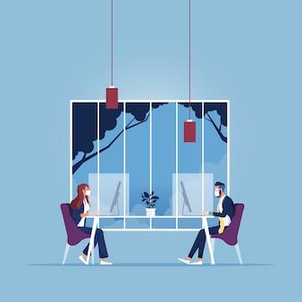 Il nuovo concetto normale e le persone che lavorano a distanza fisica mantengono la distanza dopo il concetto di pandemia covid-19