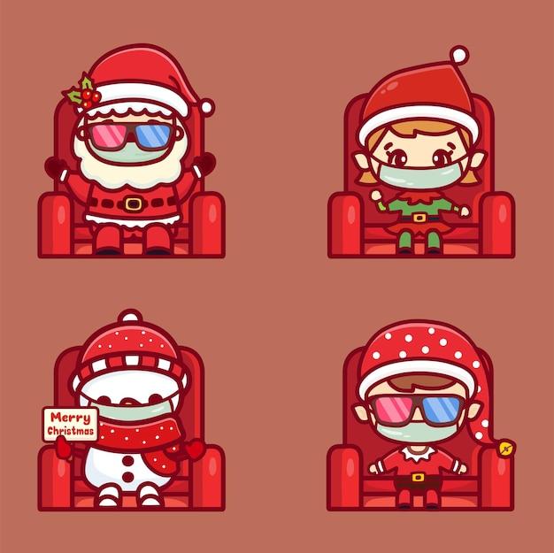 Il nuovo concetto normale indossa una maschera medica nel cinema durante il periodo natalizio. babbo natale carino e amici che guardano un film di natale