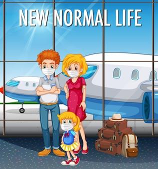 Nuova vita normale con la famiglia felice pronta a viaggiare in aeroporto