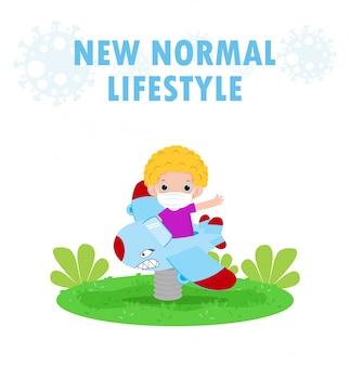 Nuovo concetto di stile di vita normale. bambini felici che indossano la maschera che si diverte su aeroplanino giocattolo al parco giochi proteggere coronavirus covid-19, bambini su parchi all'aperto isolato su sfondo bianco vettoriale