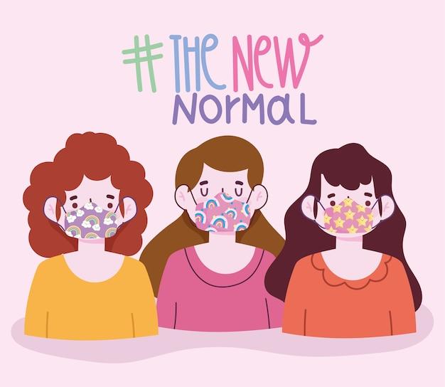 Nuovo stile di vita normale, raggruppa le ragazze con divertenti maschere protettive illustrazione vettoriale