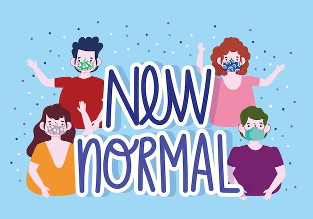 Nuovo stile di vita normale, gruppo di persone con maschere, illustrazione di protezione