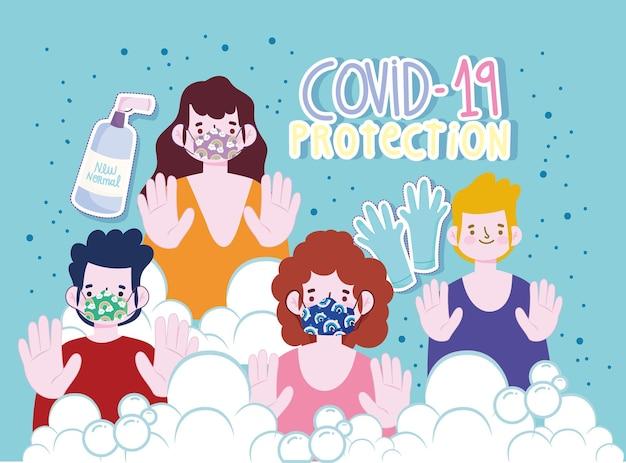 Nuovo stile di vita normale, persone con maschere guanti disinfettanti spray cartoon, illustrazione di protezione