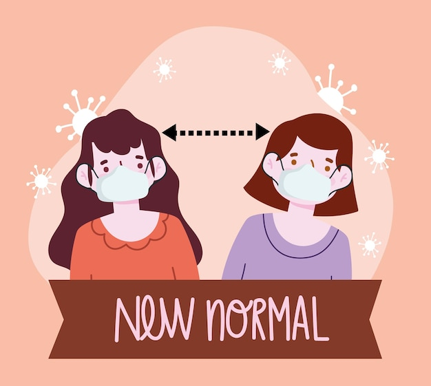 Nuovo stile di vita normale, persone con maschere e illustrazione in stile cartone animato a distanza sociale