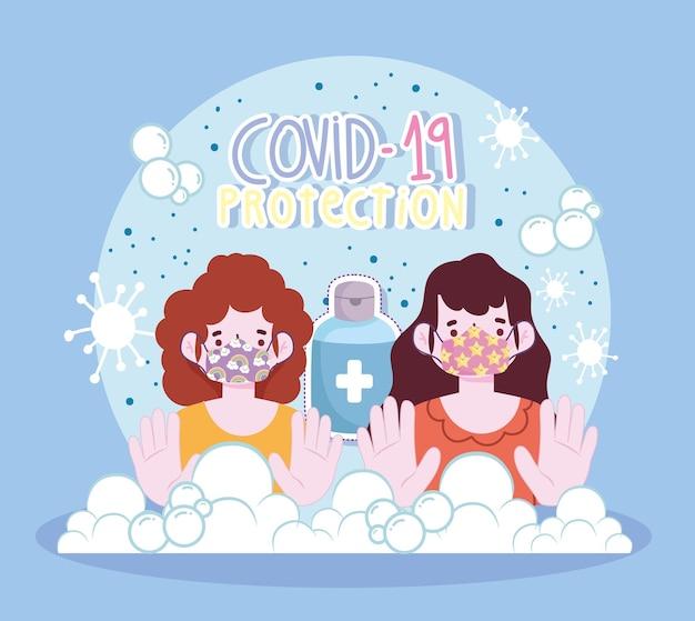 Nuovo stile di vita normale, ragazze di protezione con maschera e illustrazione di stile cartone animato disinfettante alconol