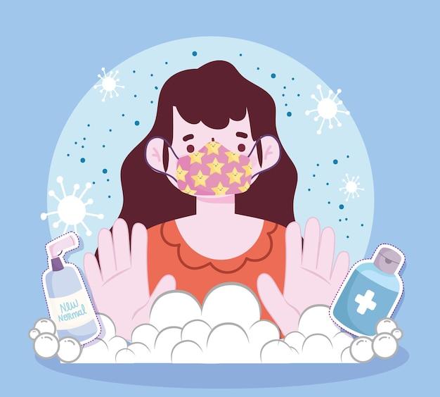 Nuovo stile di vita normale, donna con maschera disinfettante spray e disinfettante in stile cartone animato illustrazione
