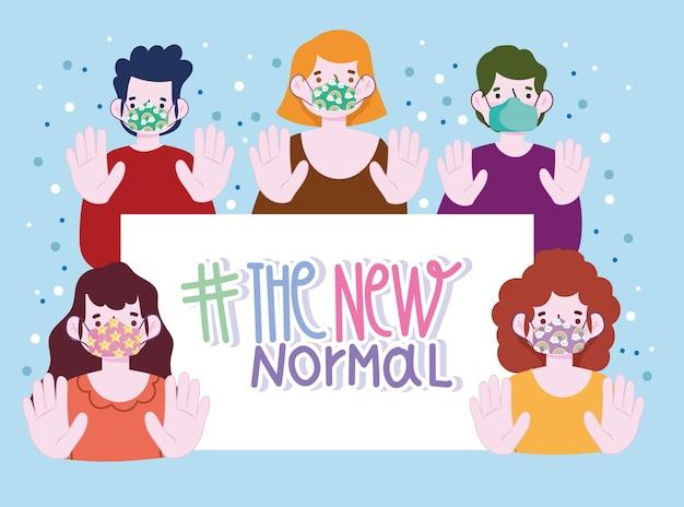 Nuovo stile di vita normale, giovani che indossano maschere protettive in stile cartone animato