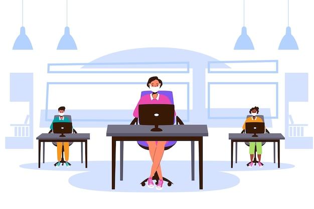 Nuova normalità al concetto di ufficio Vettore Premium