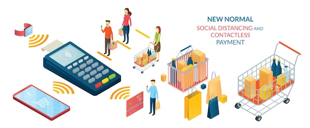 New normal, people in social distancing e contactless payment, shopping in mart e store
