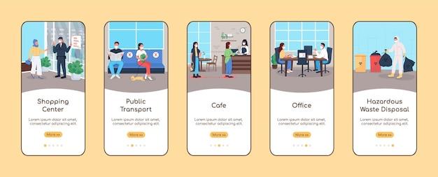 Nuovo normale per gli spazi pubblici per l'onboarding del modello piatto dello schermo dell'app mobile