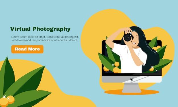 Nuova normale fotografia virtuale virtuale nell'era pandemica del 19 secolo. fotografo femminile con tema di decorazione di foglie tropicali. stile piano sito web landing page design modello.