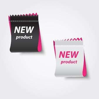 Etichette di nuovi prodotti.